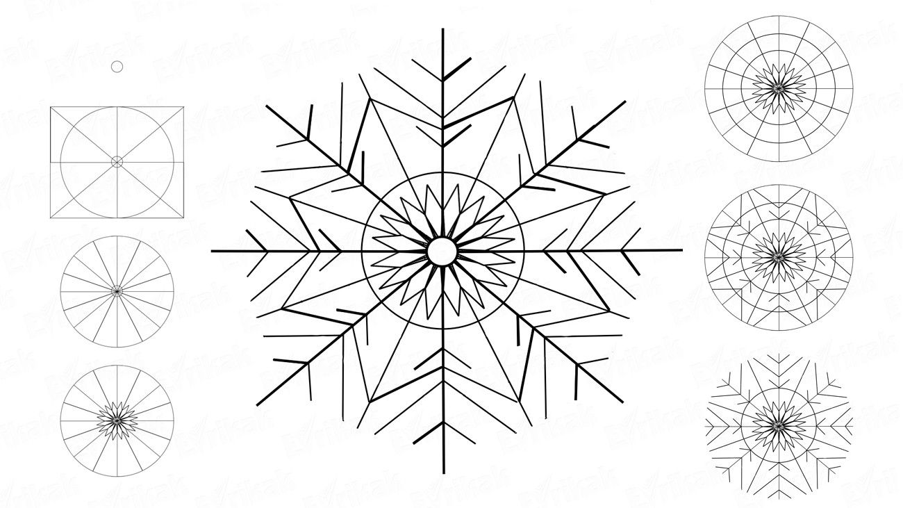 How to draw a beautiful snowflake step by step