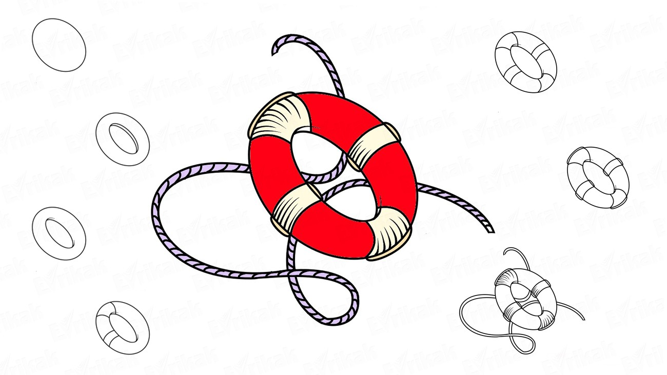 How to draw a lifebuoy (+ coloring)
