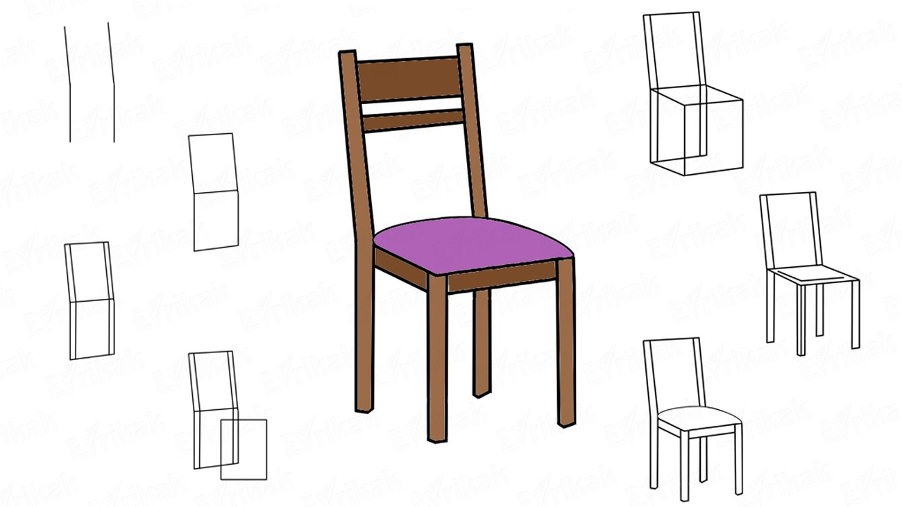 How to draw a wooden chair (+ coloring)