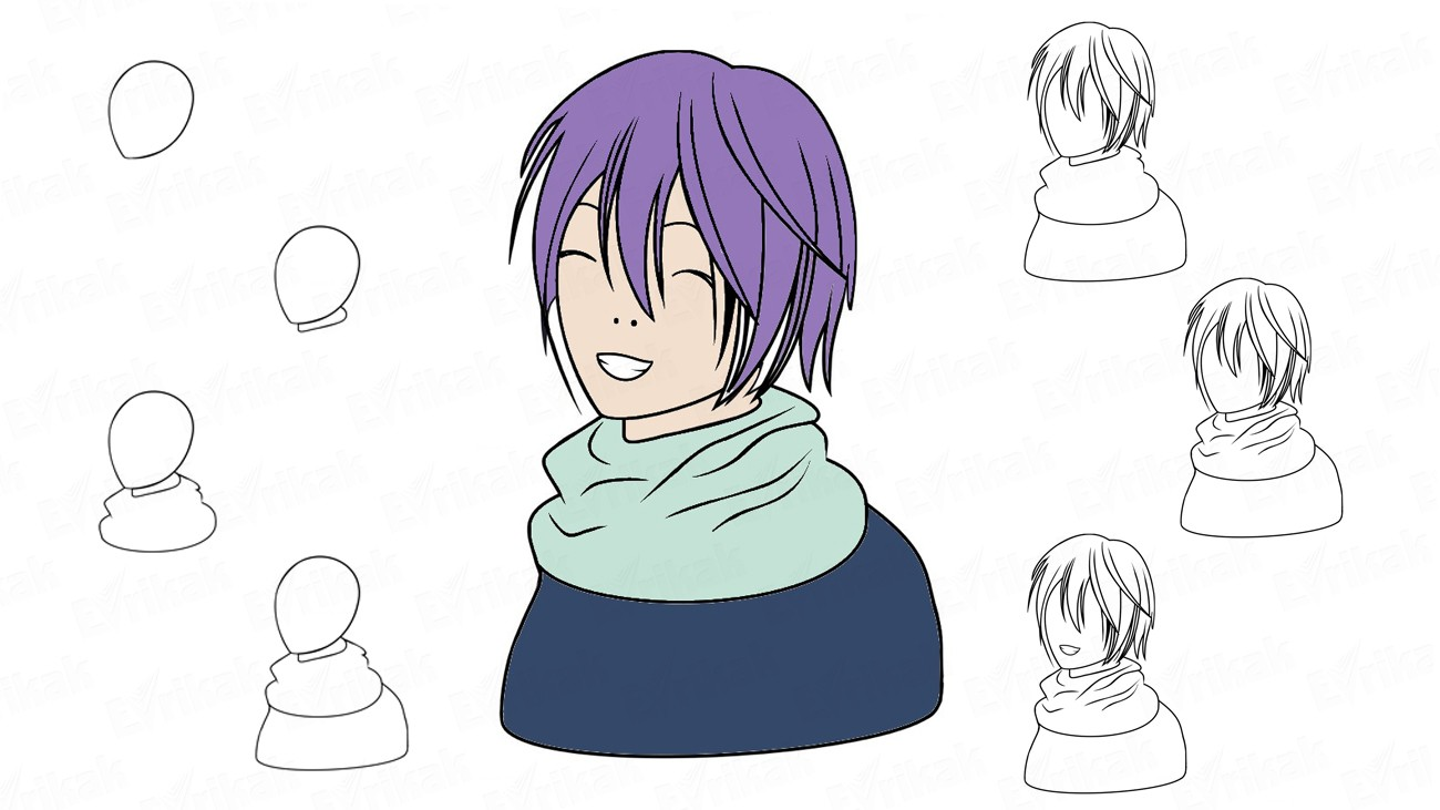 "Learn to draw Yato from the anime ""Homeless God"" (+ coloring)"