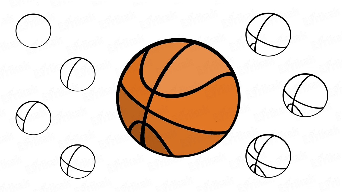 How to draw a basketball (+ coloring)