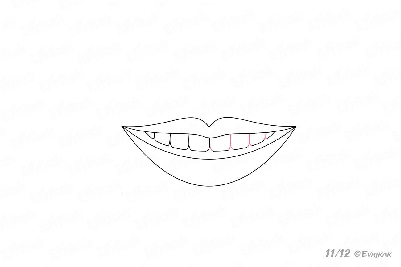 How To Draw A Smile With Teeth Correctly