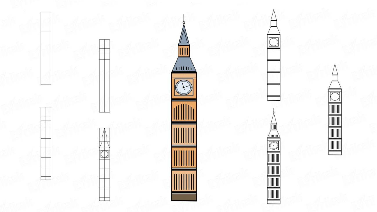 How to draw Big Ben step by step (+ coloring)
