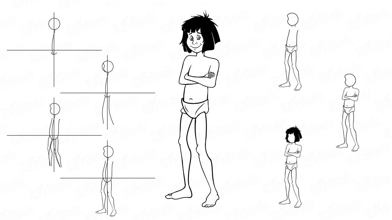 Learn to draw Mowgli using a pencil in stages (+ coloring)