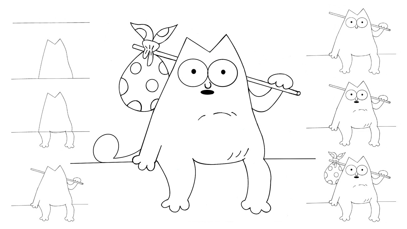 Learn to draw a funny Simon's cat in stages using a pencil (+ coloring)