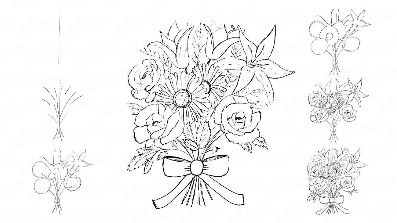 Learn to draw a bouquet of flowers in stages using a pencil