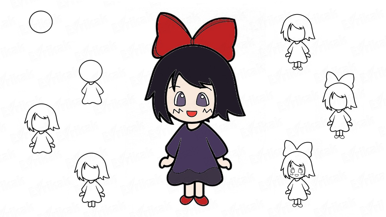 "Learn to draw Kiki from ""Kiki's delivery service"" (+ coloring)"