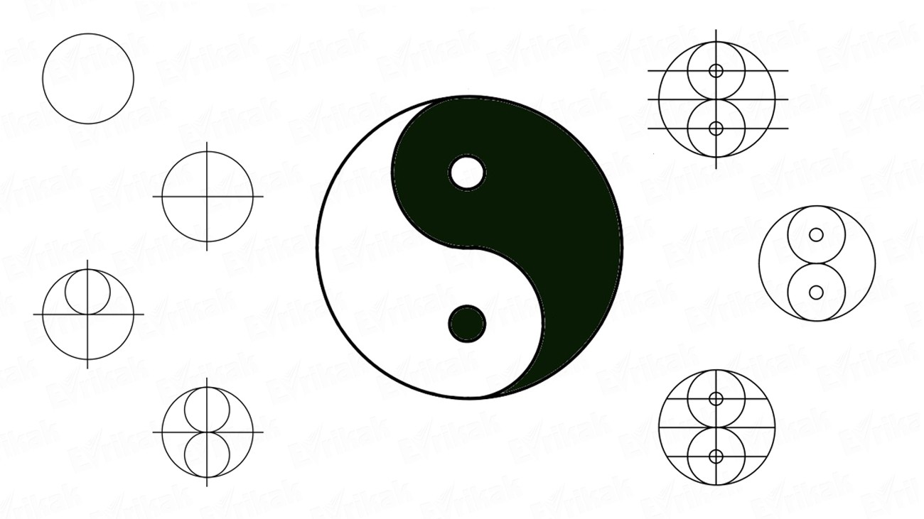 Learn to draw the symbol Yin Yang in stages (+coloring)