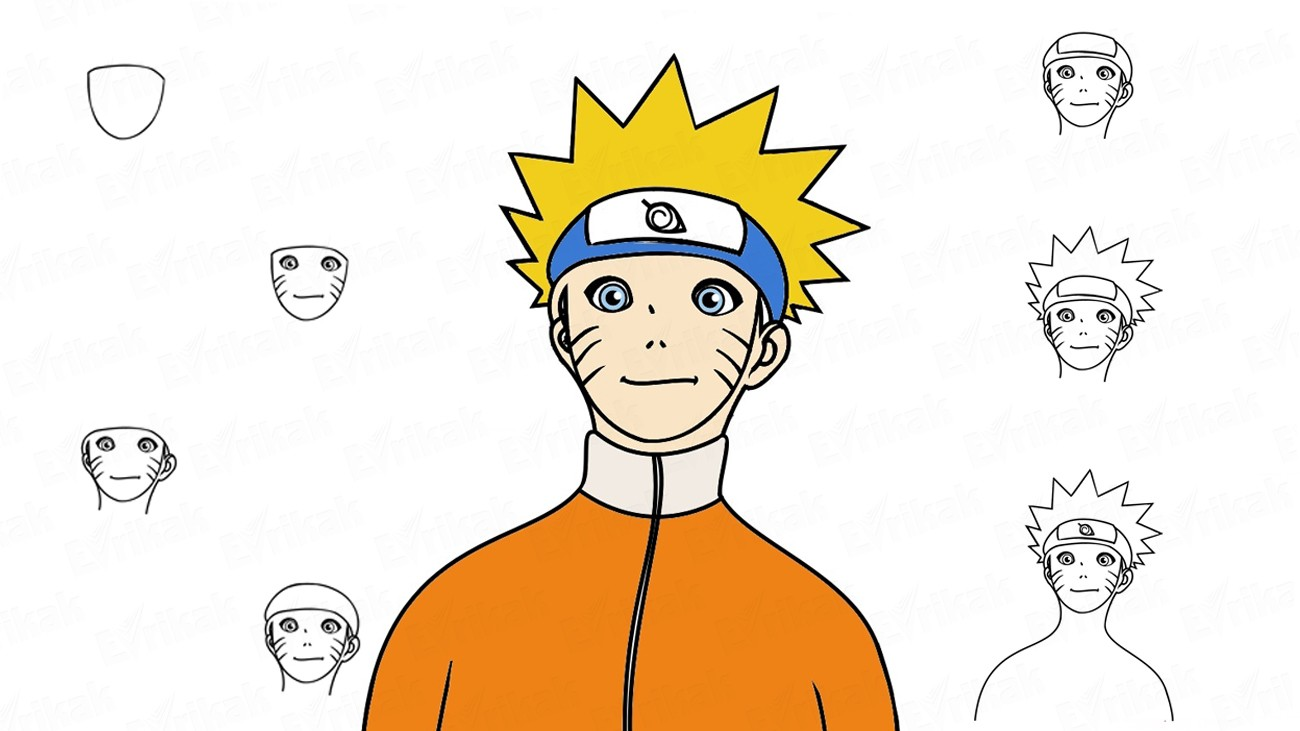 Learn to draw anime Naruto step by step (+ coloring)