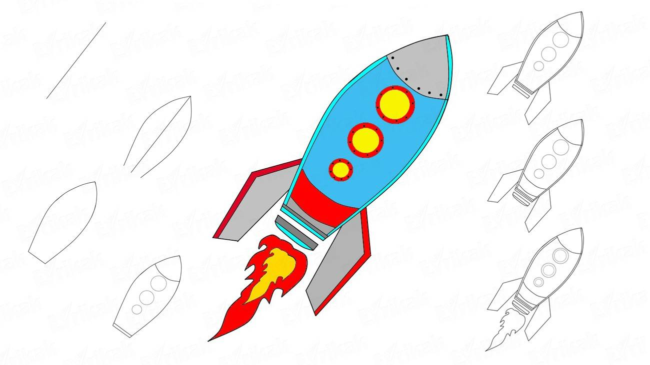 Learn to draw a rocket with children step by step (+ coloring)