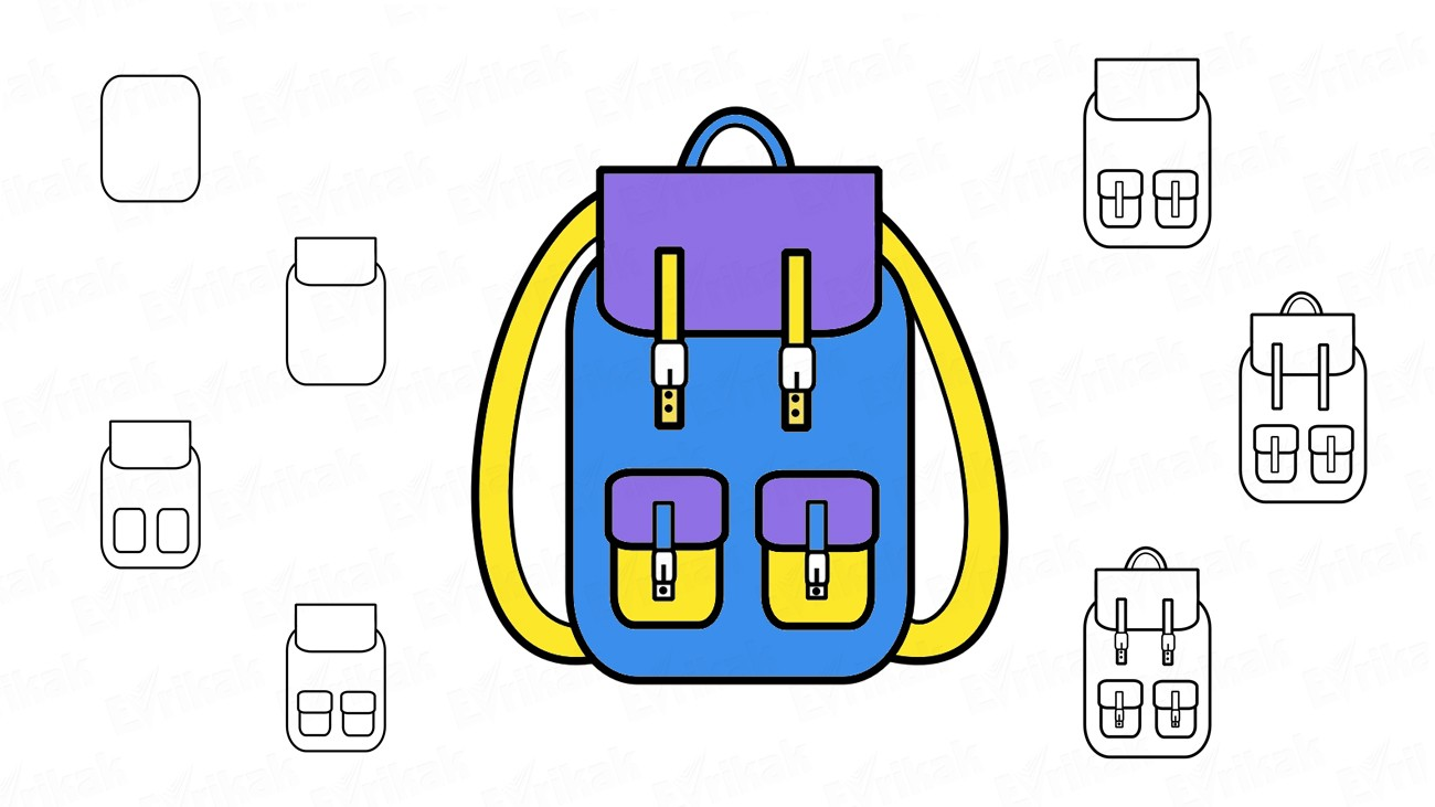 Learn how to draw a school backpack using a pencil (+ coloring)