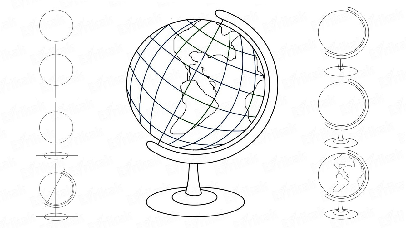 Learn to draw a school globe step by step (+ coloring)