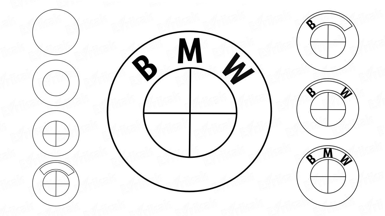 Learn to draw the bmw icon step by step (+ coloring)