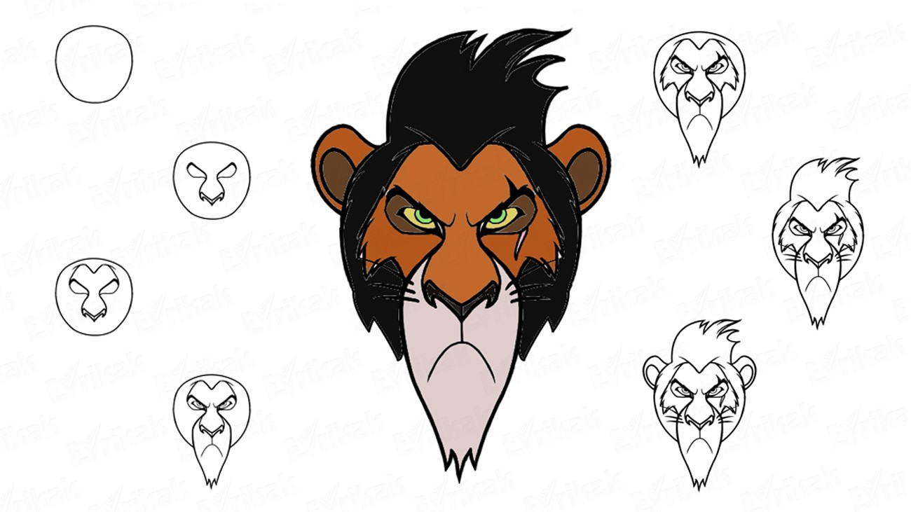"Learn to draw Scar from ""The Lion King"" (+ coloring)"