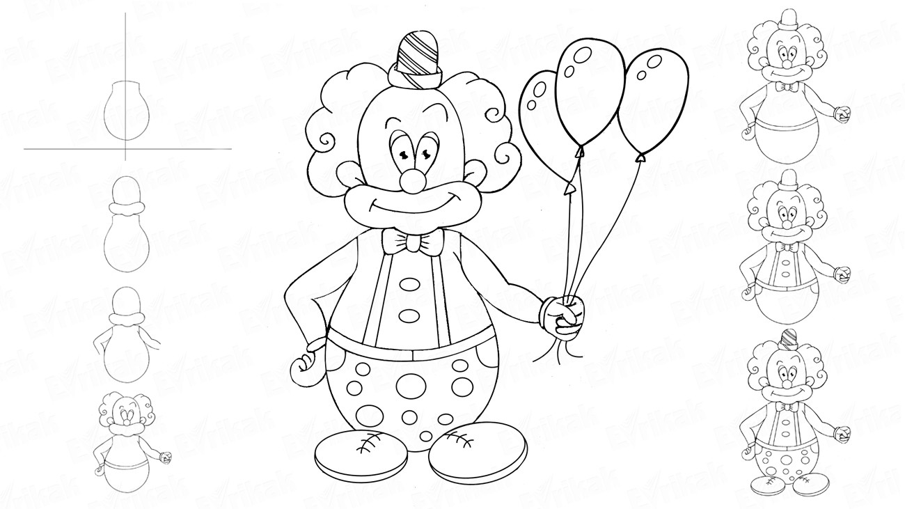 Learn to draw a funny clown with balloons in stages