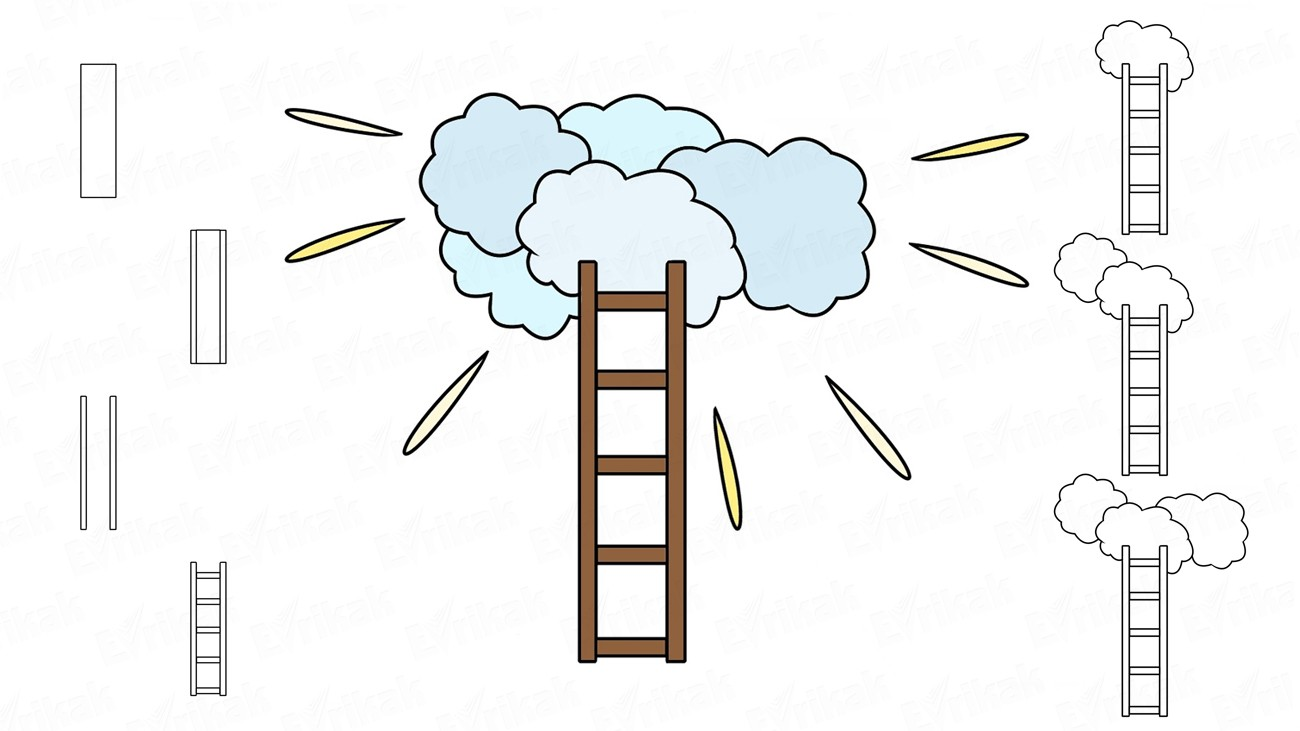 Learn to draw a ladder to heaven in stages (+coloring)
