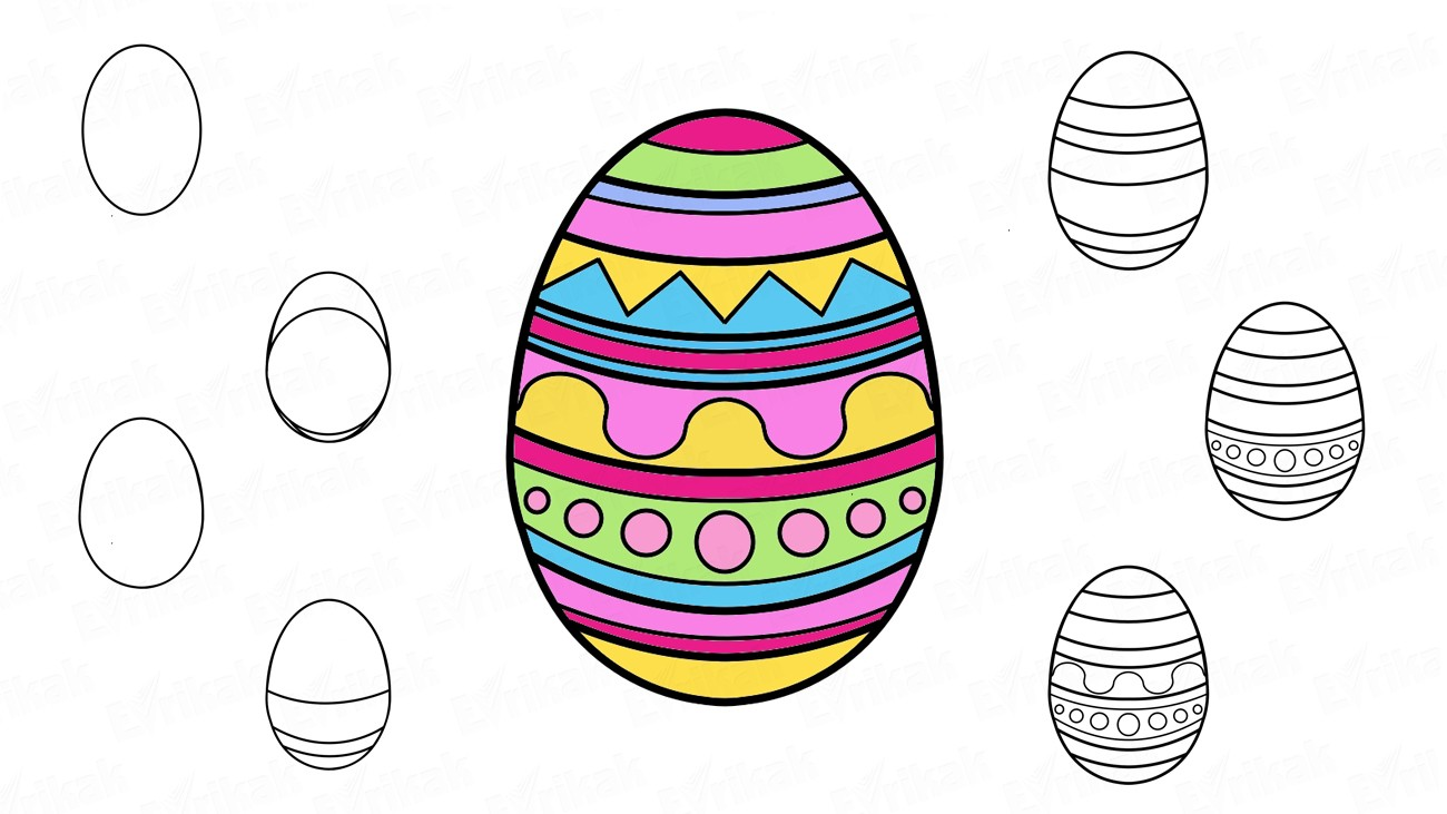 Learn to draw an Easter egg with patterns in stages (+coloring)
