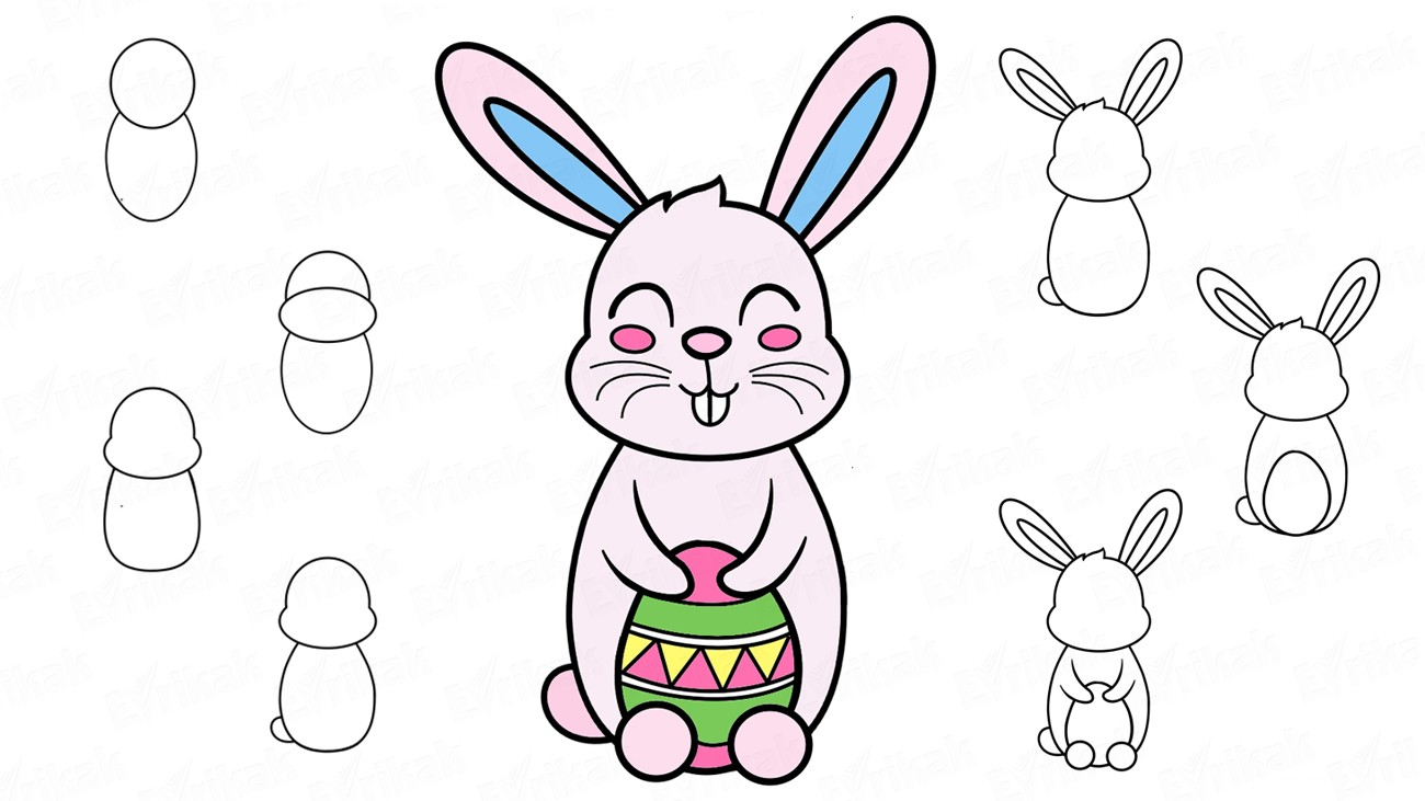 Learn to draw the Easter bunny step by step using a pencil (+ coloring)