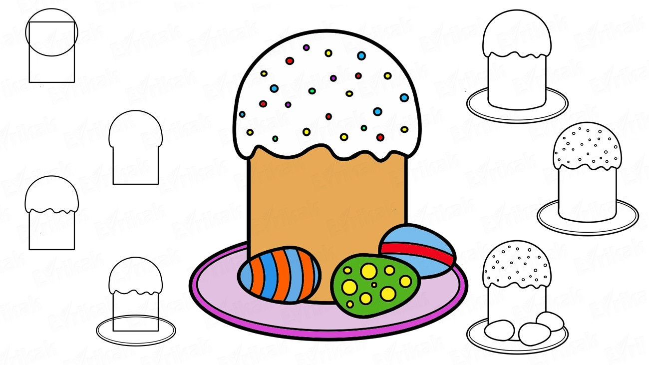 Learn to draw the Easter cake and eggs in stages (+ coloring)