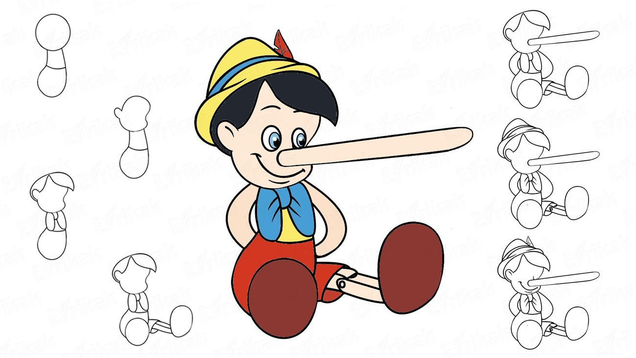 Learn to draw Pinocchio together a child using a pencil (+ coloring)