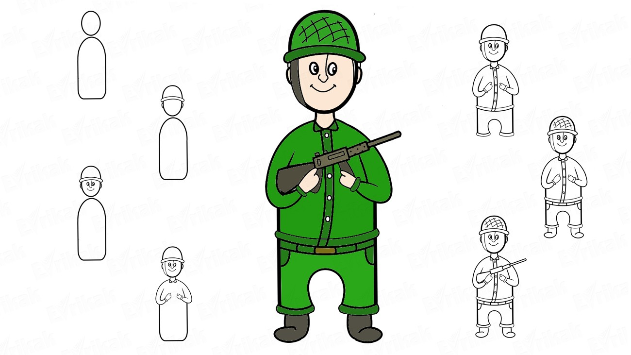 Learn to draw a military soldier with a rifle step by step (+ coloring)