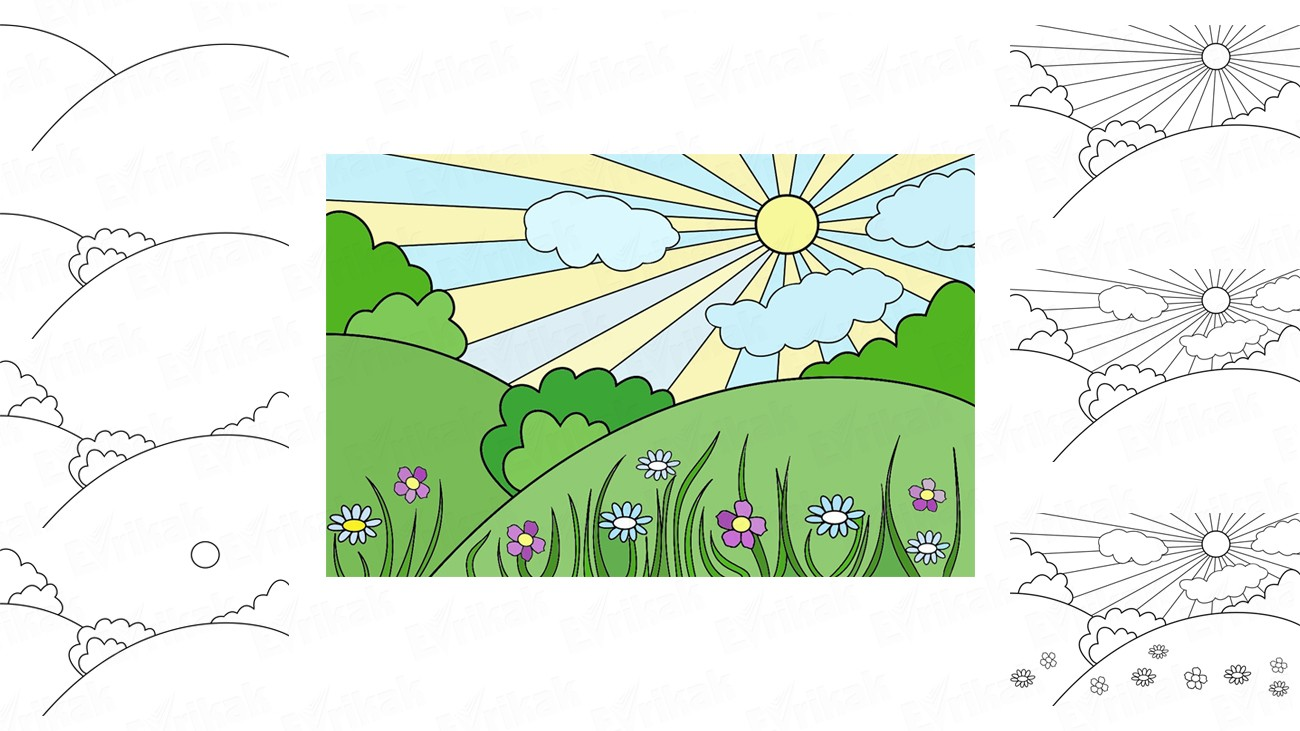Learn to draw a spring landscape for children (+ coloring)