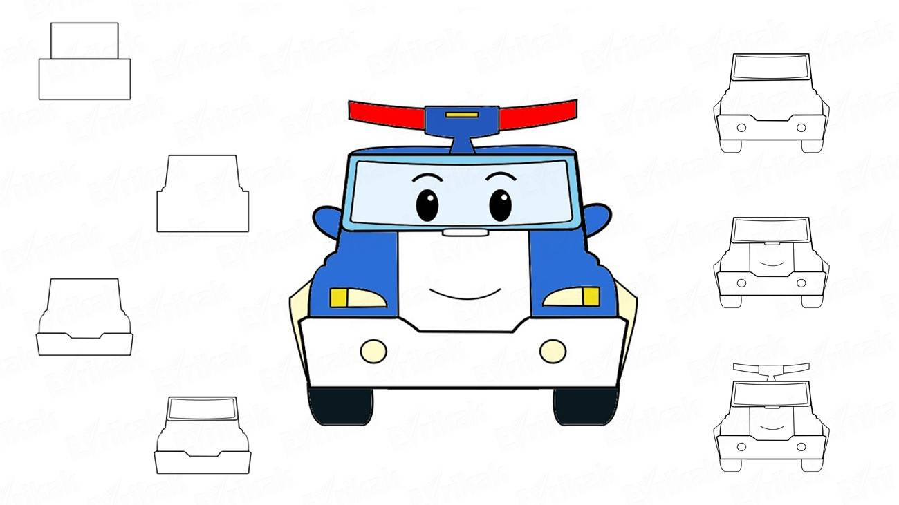 Learn to draw a robocar Poli for a child step by step (+ coloring)