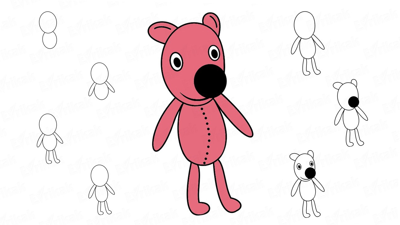Learn to draw Kooky the bear in stages (+ coloring)