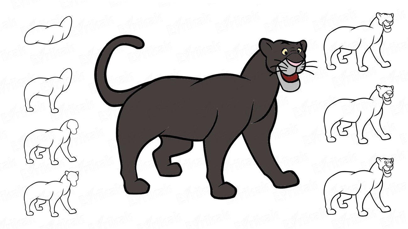 "Learn to draw a panther Bagheera from ""Mowgli"" in stages (+ coloring)"