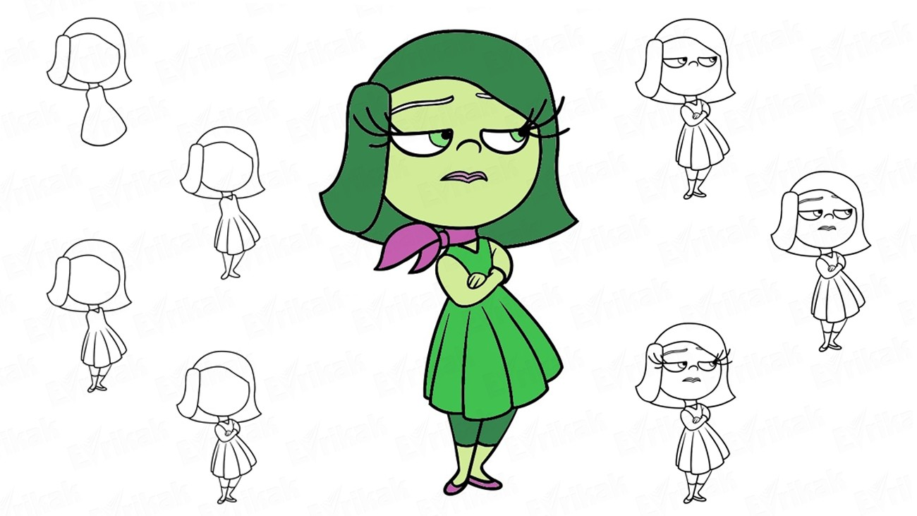 "Learn to draw Disgust from the cartoon ""Inside Out"" step by step (+ coloring)"