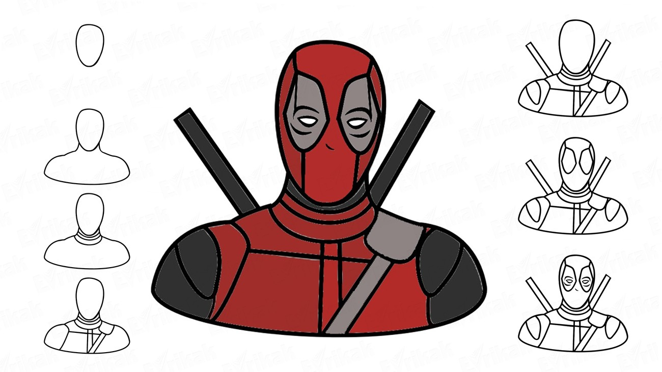 Learn to draw Deadpool together with a child in stages (+ coloring)