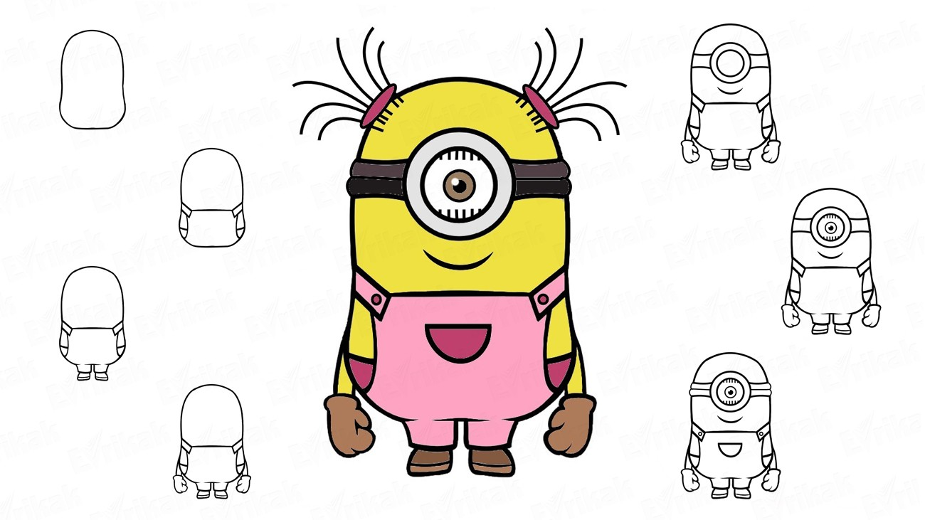 "Learn to draw a minion girl from the cartoon ""Despicable me"" in stages (+coloring)"