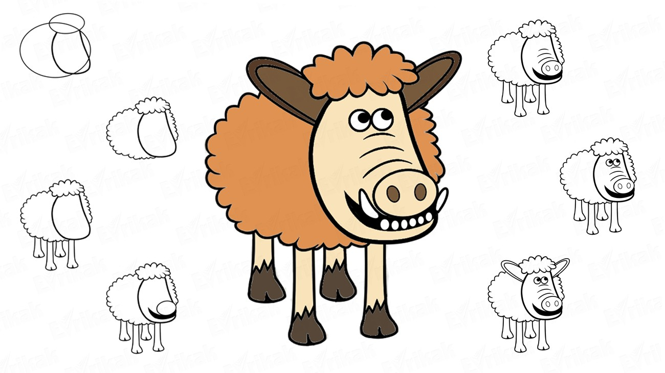 "Learn to draw Hognob from the cartoon ""Early man"" together with a child (+ coloring)"
