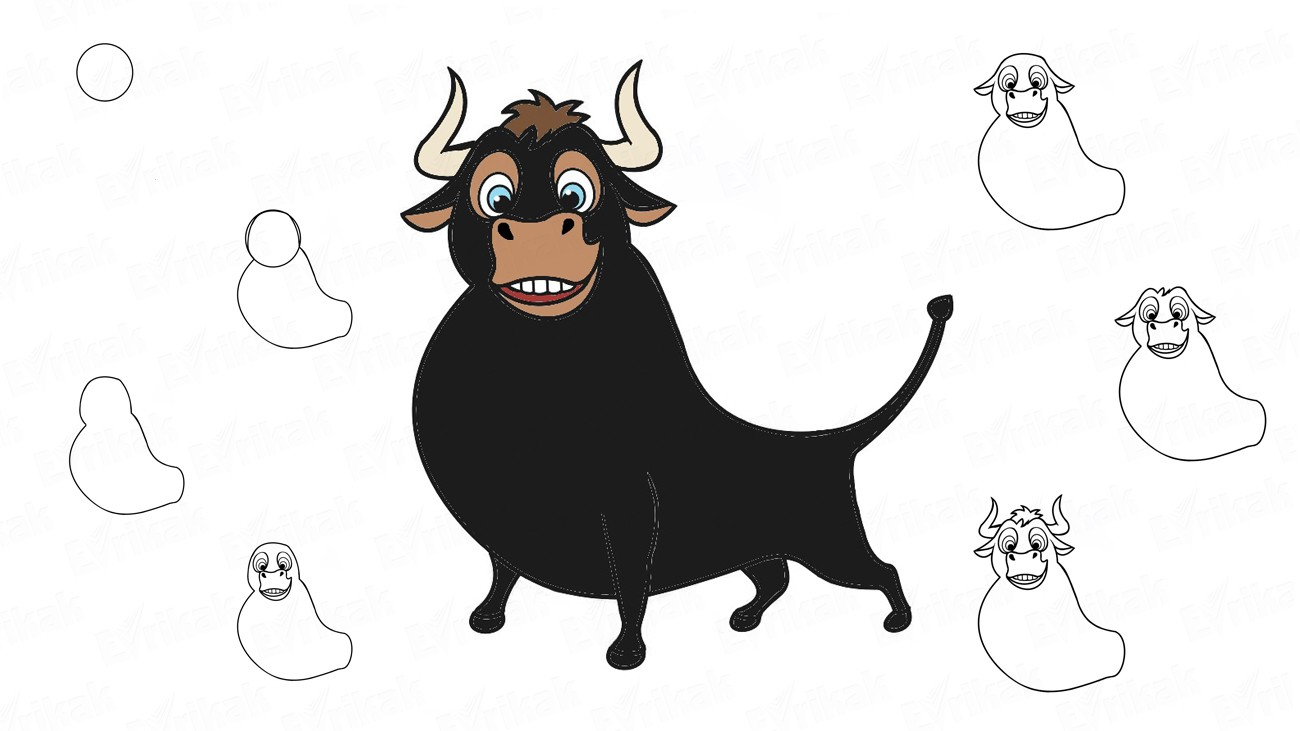 Learn to draw Ferdinand the bull step by step (+ coloring)