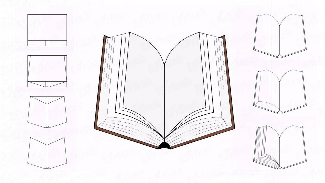Learn to draw an opened book together with a child step by step (+coloring)