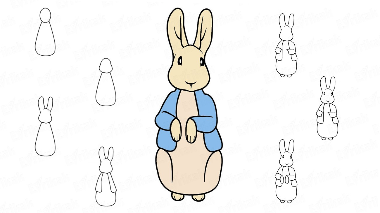 Learn to draw Peter Rabbit step by step using a pencil (+coloring)