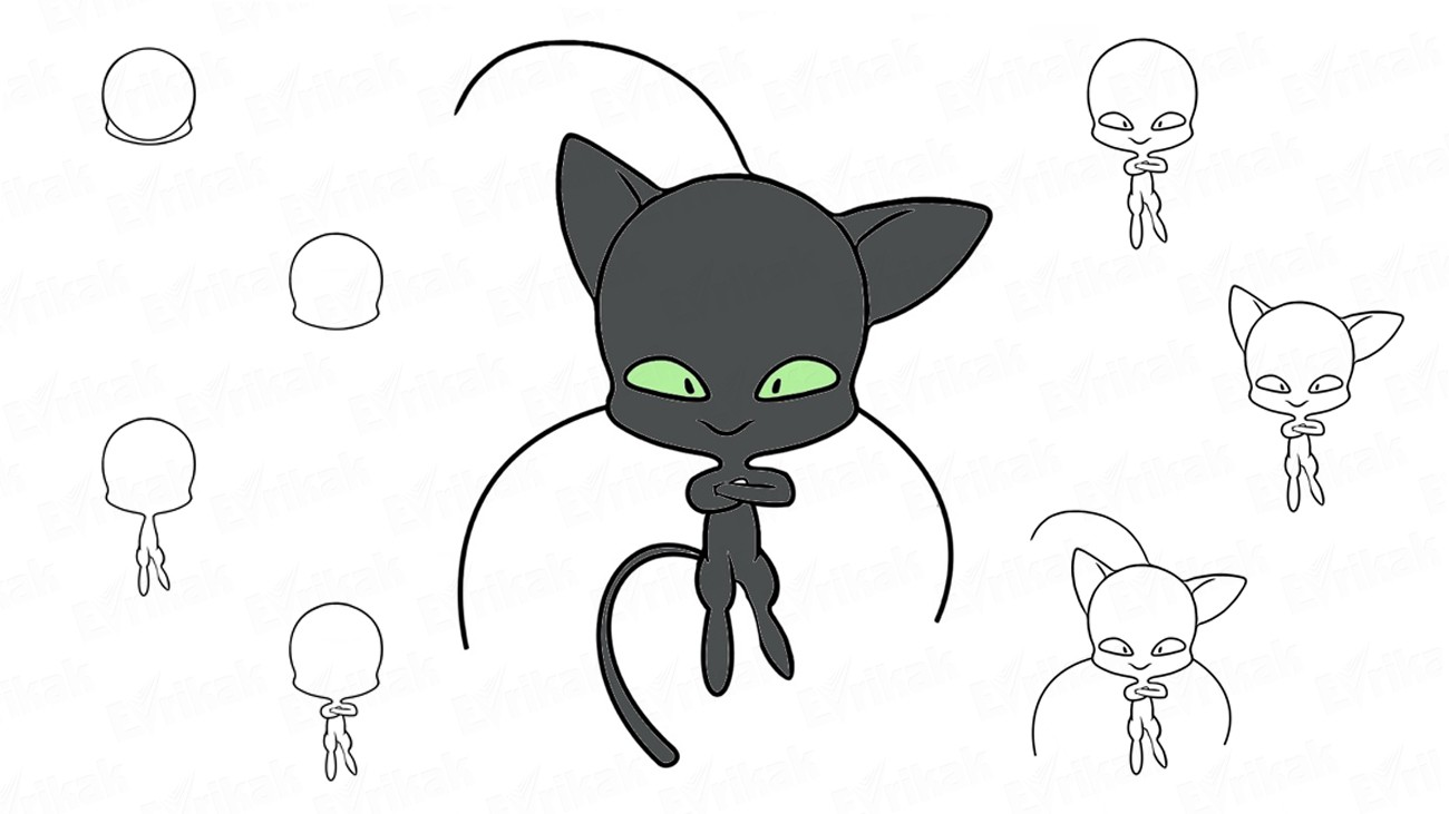 "Learn to draw Plagg from the cartoon ""Miraculous: Tales of Ladybug and Cat Noir"" (+ coloring)"