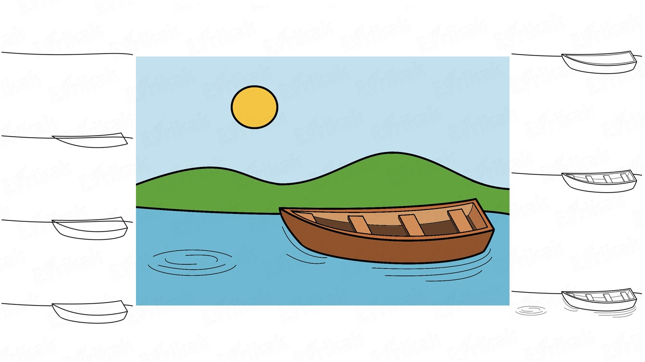 Learn to draw a boat on the water for a child in stages (+ coloring)