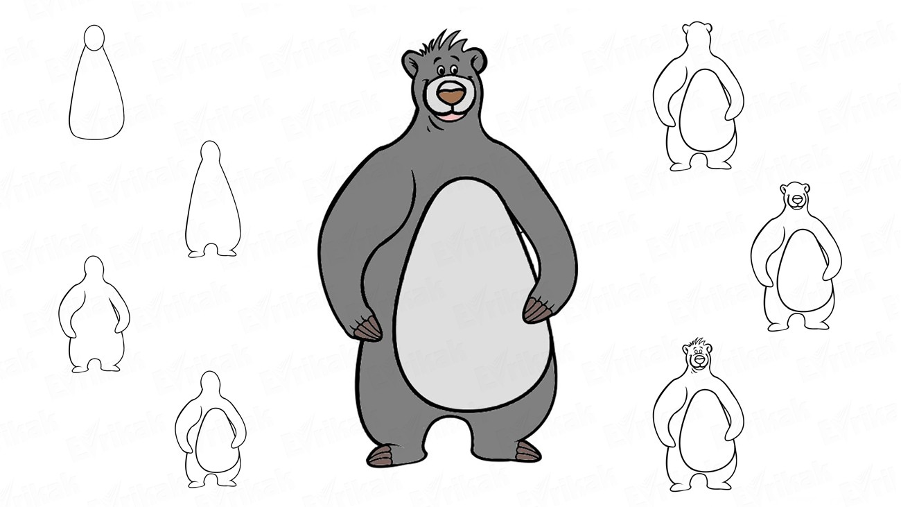 "We are drawing Baloo, the bear from the cartoon ""Mowgli"" (+ coloring)"
