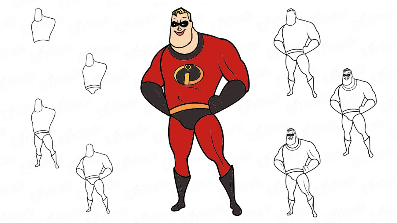 "Learn to draw Mr. Incredible from cartoon ""The Incredibles"" in stages (+ coloring)"