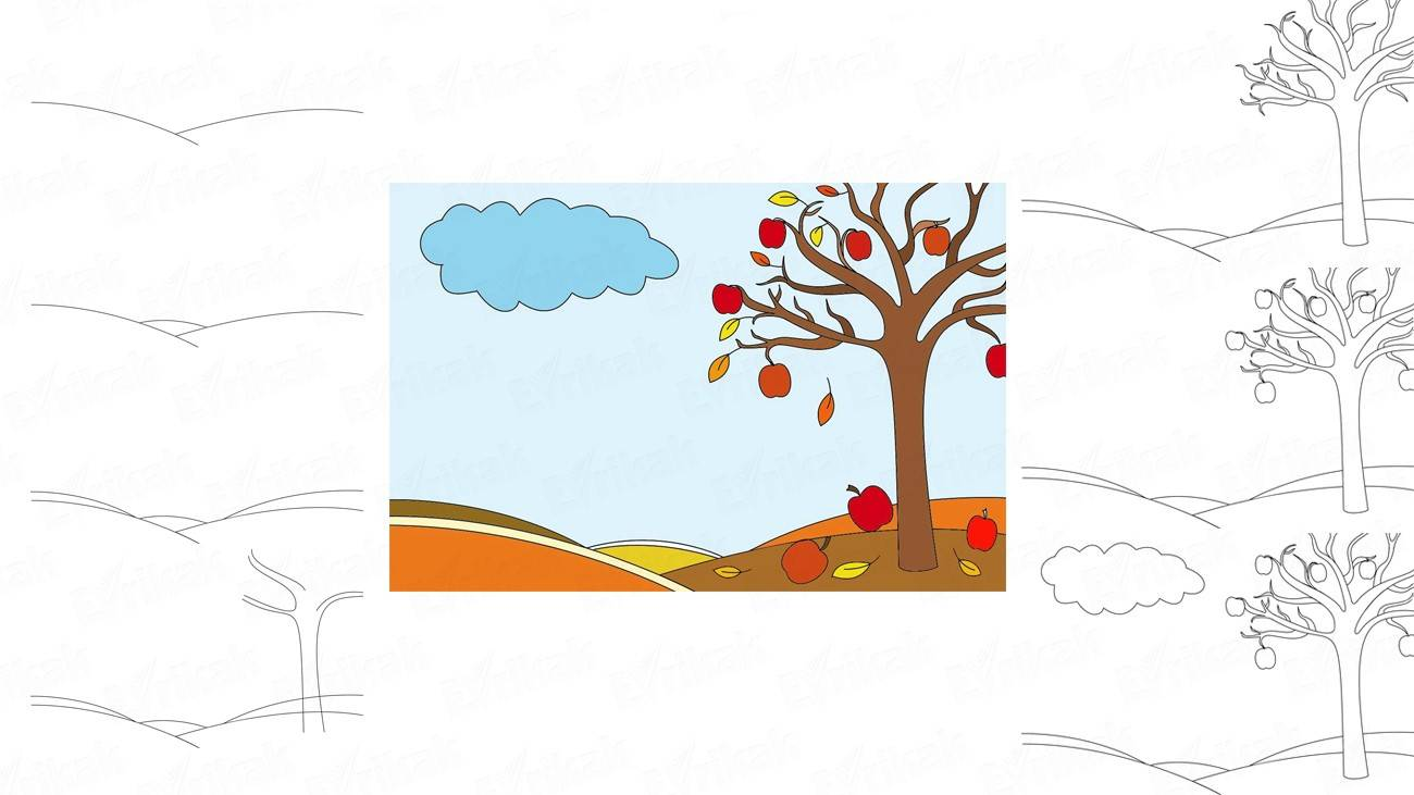 Learn to draw an autumn landscape in stages using a pencil (+ coloring)