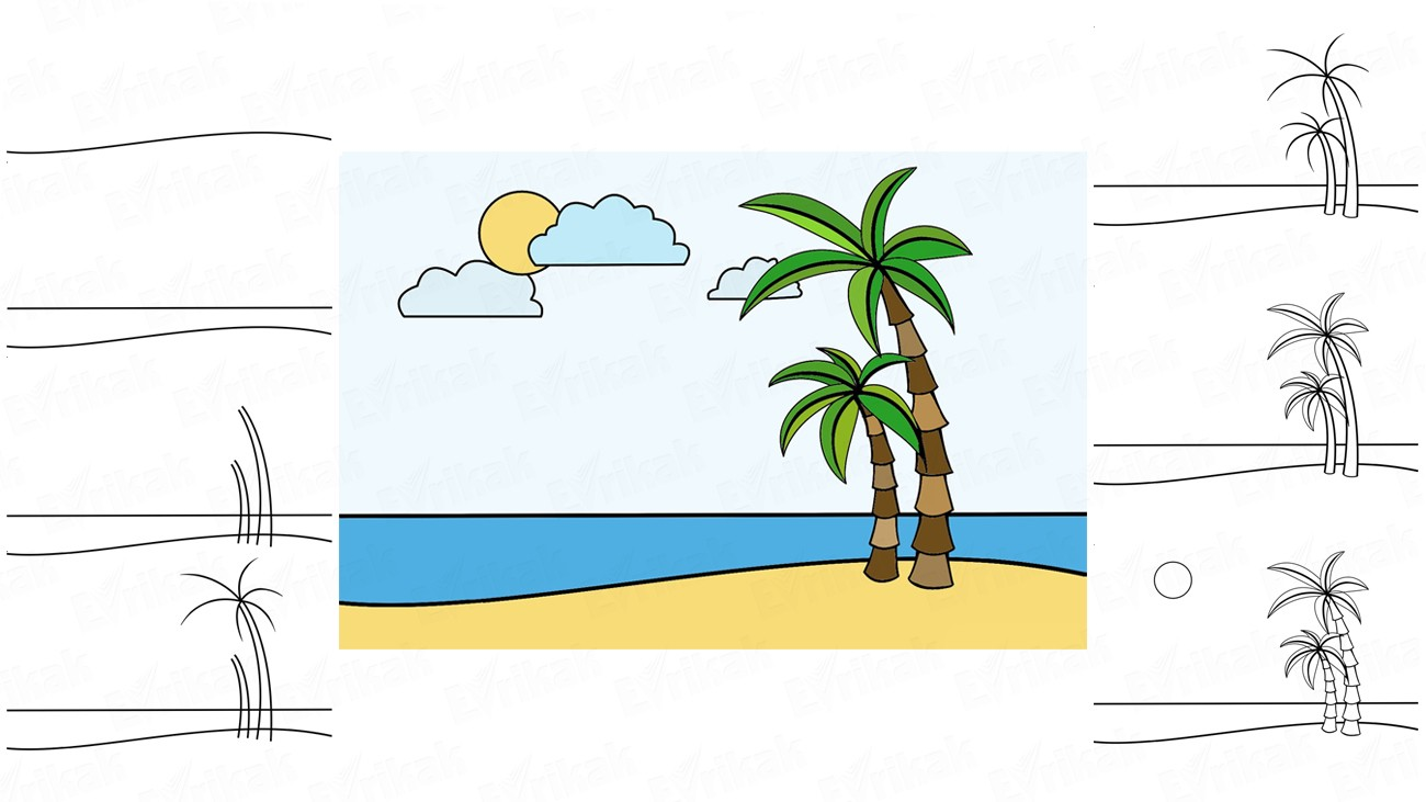 Learn to draw a beautiful sea shore for a child (+ coloring)