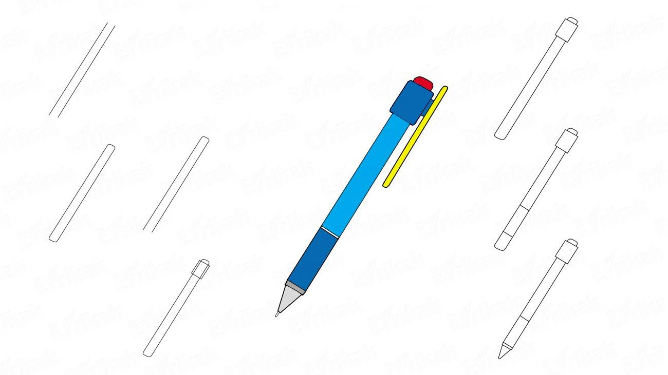 Learn to draw a beautiful pen step by step (+coloring)
