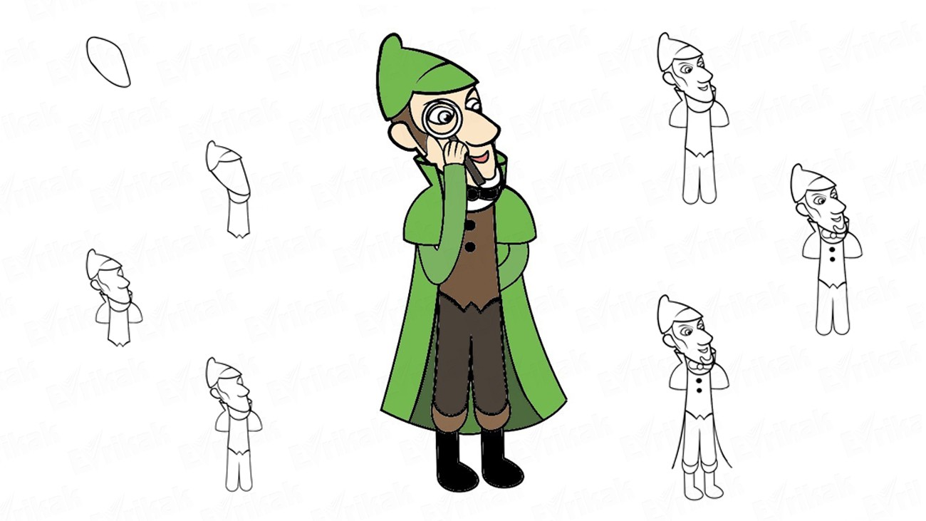 Learn to draw Sherlock Gnomes in stages (+ coloring)