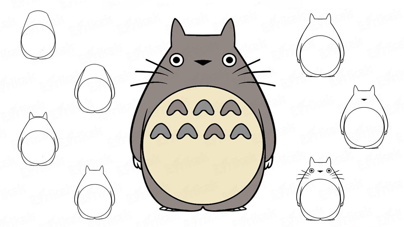 Learn to draw Totoro step by step (+ coloring)