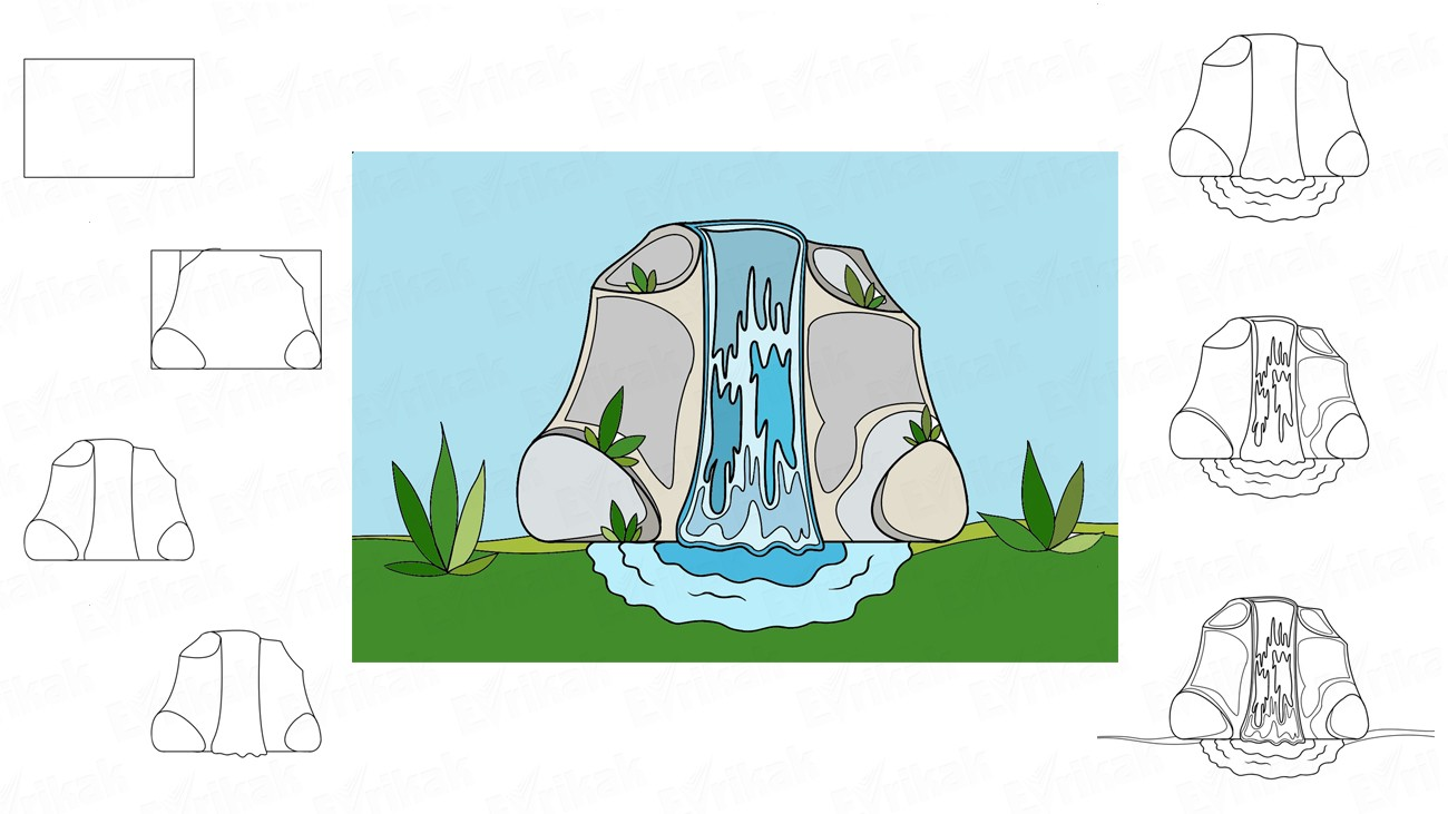 Learn how to draw a waterfall using a pencil coloring