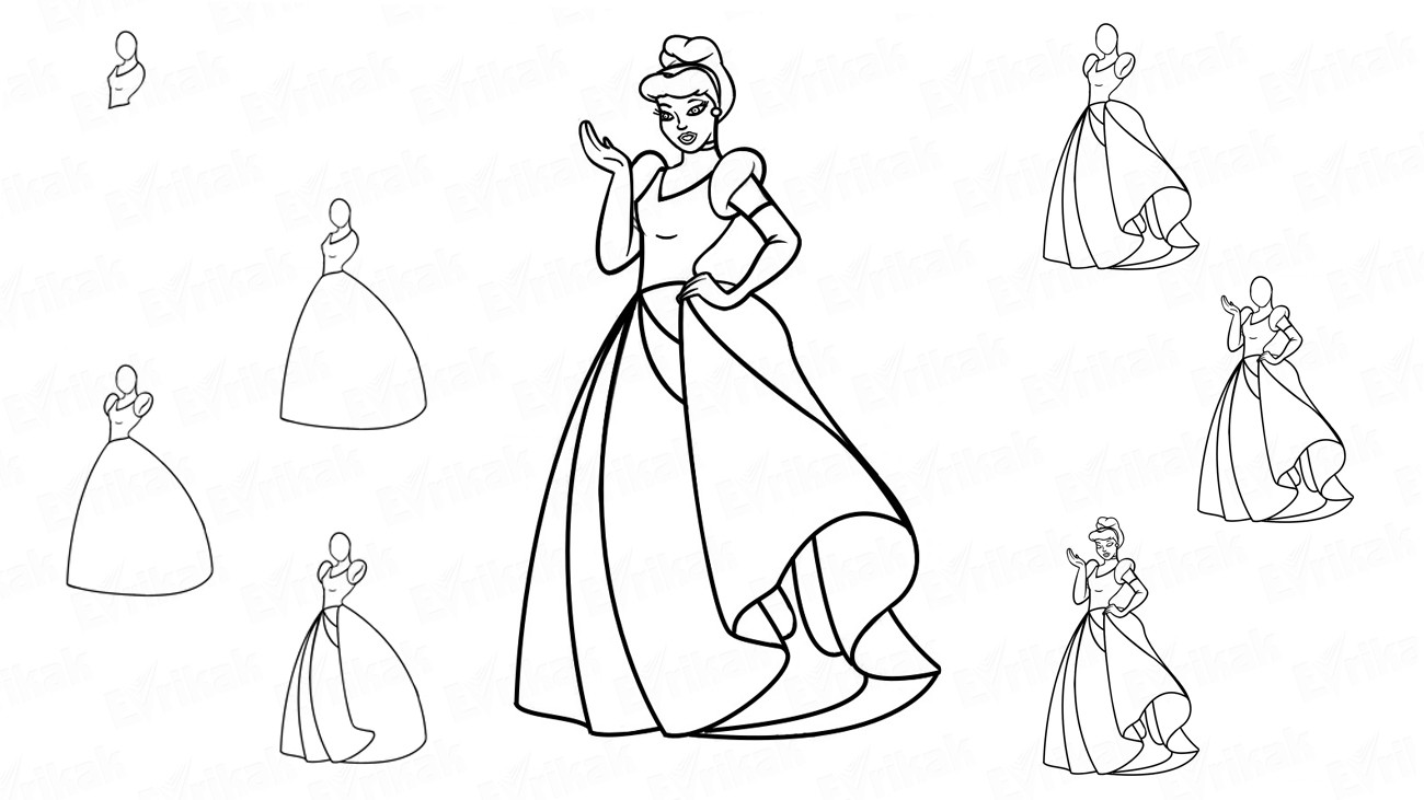 Learn to draw Cinderella in a ball dress in stages (+ coloring)