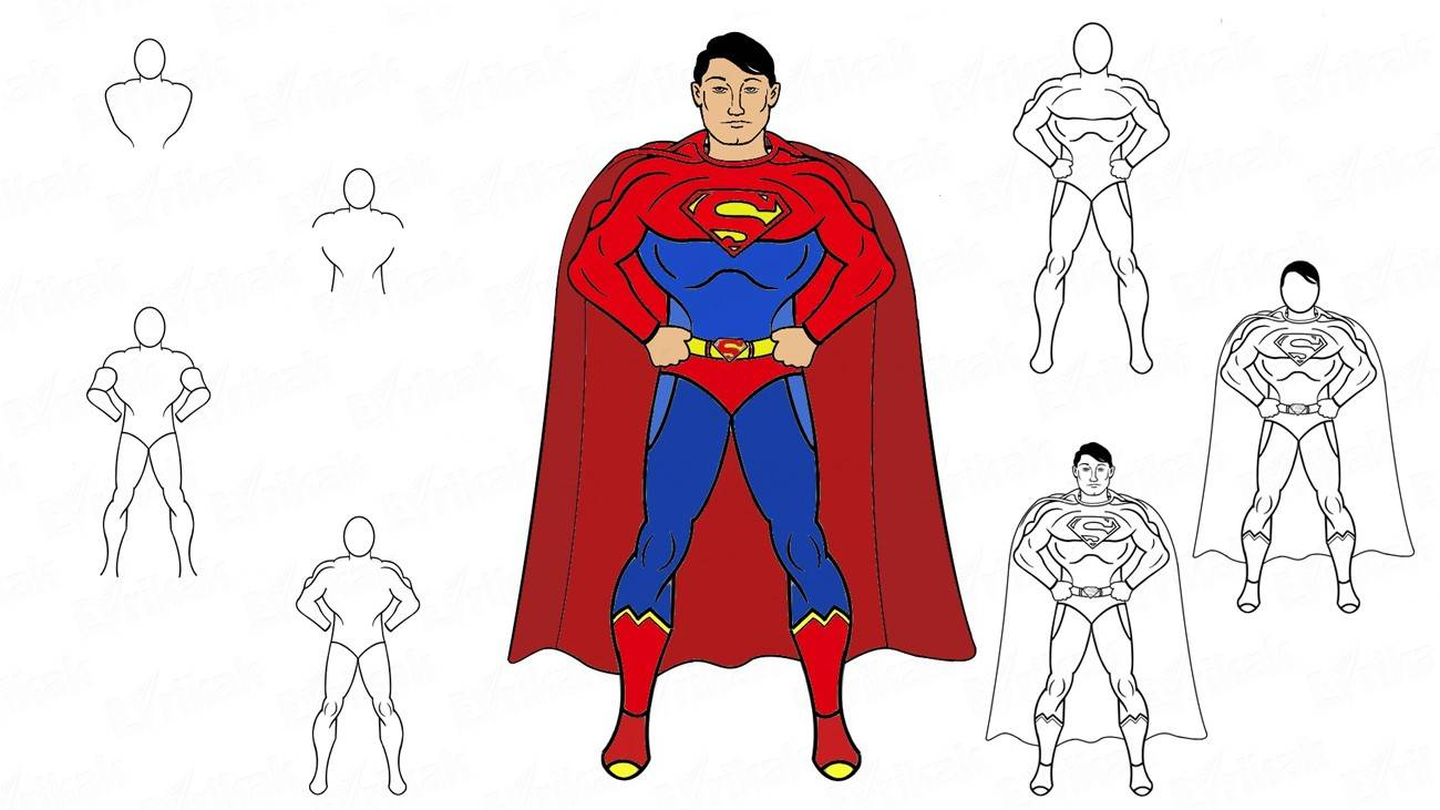 Learn how to draw a Superman step by step using a pencil (+ coloring)
