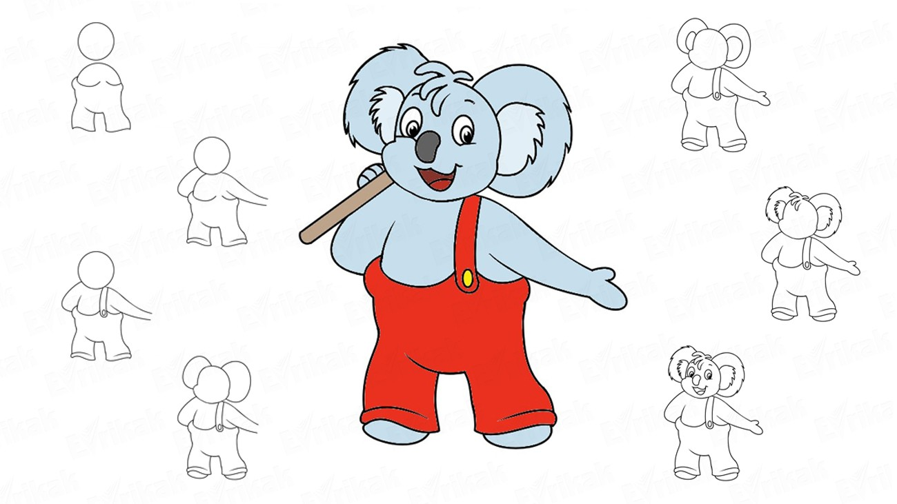 Learn to draw Blinky Bill from the cartoon (+ coloring)
