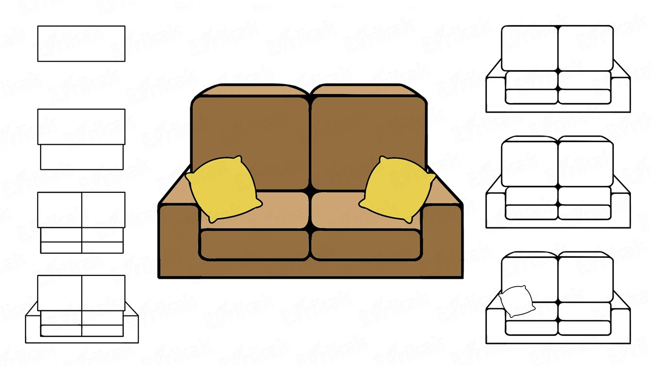 Learn to draw a sofa with pillows using a pencil (+ coloring)